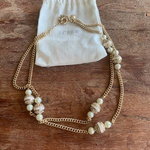 J.Crew Gold and Pearl Double Strand Necklace